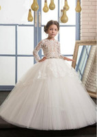 Luxury High Quality White Ivory First Communion Dresses For Girls Ball Gown Belt Lace Pearls Elegant
