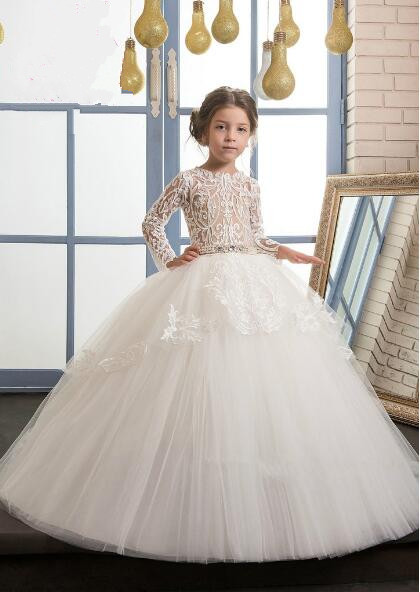 Luxury High Quality White Ivory First Communion Dresses for Girls Ball Gown Belt Lace Pearls Elegant Flower Girl Dress white ivory girls first communion dresses ball gown lace with sash long junior flower girl dress for wedding custom any size