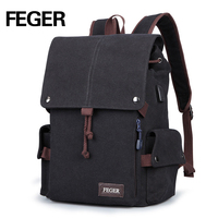 FEGER New Arrival Men Backpack Casual Fashion Student School Backpacks Canvas Large Capacity Laptop Backpacks USB