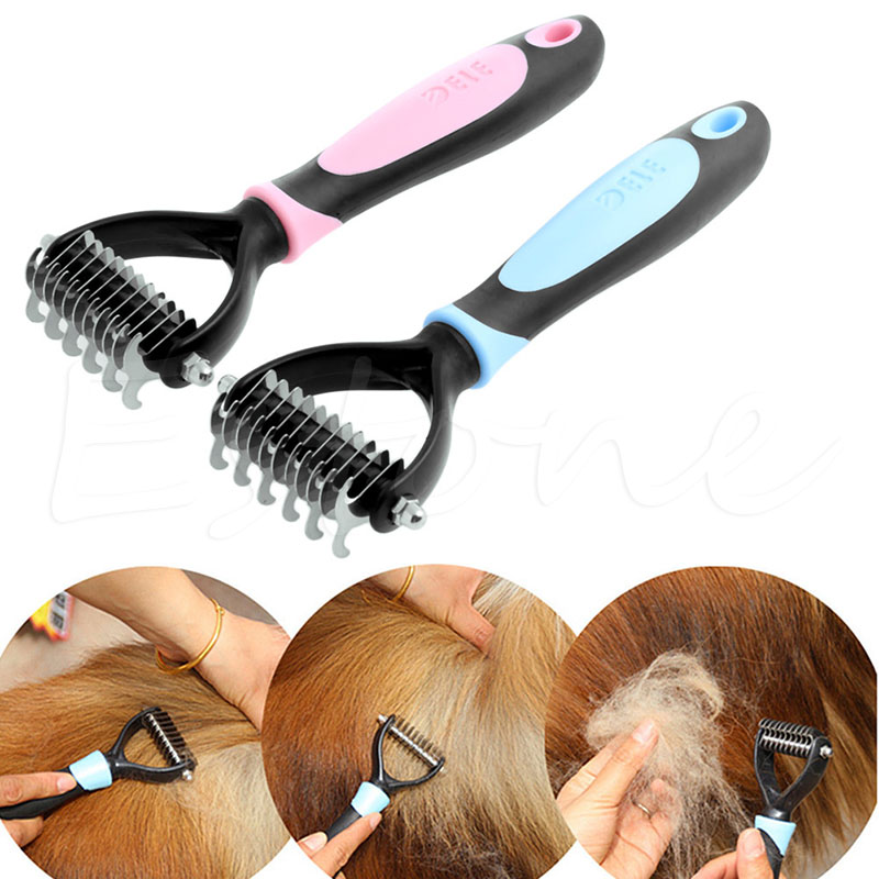 S-home New Tera Pet Fur Knot Cutter Remove Rake Grooming Shedding Brush Comb Rake Dog Cat Mar8