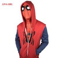 2017 Movie Spider Man Homecoming Peter Parker Cosplay Superman Pullover Hoodies Men Sweatshirt Long Sleeve SpiderMan