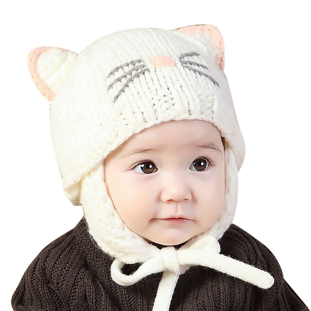 Baby Beanie Baby Hat Cap Kids Hat Toddler Baby Boys Girls Cap Earflaps Children Knitting Winter Warm Ball Hats Cap
