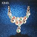 De lujo de La Vendimia de la Turquesa Collares Para Las Mujeres Con Incrustaciones de Joyas de Cristal Chapado En Oro Exagerado Collar Accesorios Regalos