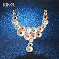 Luxury Vintage Turquoise Necklaces For Women Jewelry Inlaid Crystal Plating Gold Exaggerated Collar Necklace Accessories Gifts
