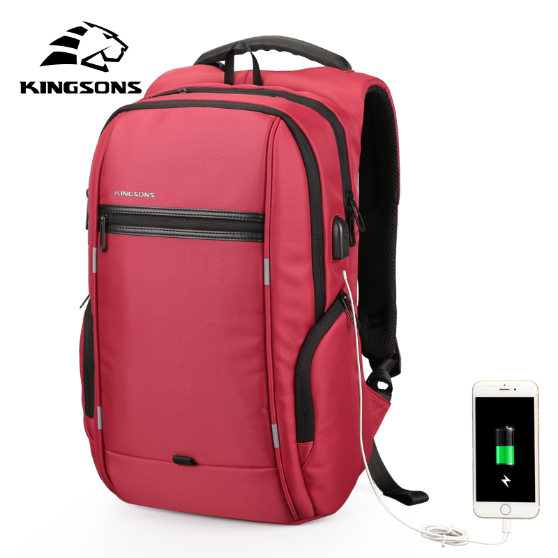 Kingsons 13.3 Laptop Backpack External USB Charge Computer Backpacks Anti-theft Waterproof Bags for Women Red Color