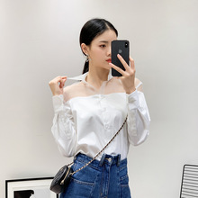 Early Spring Womens New Casual Organza Stitching Shirt