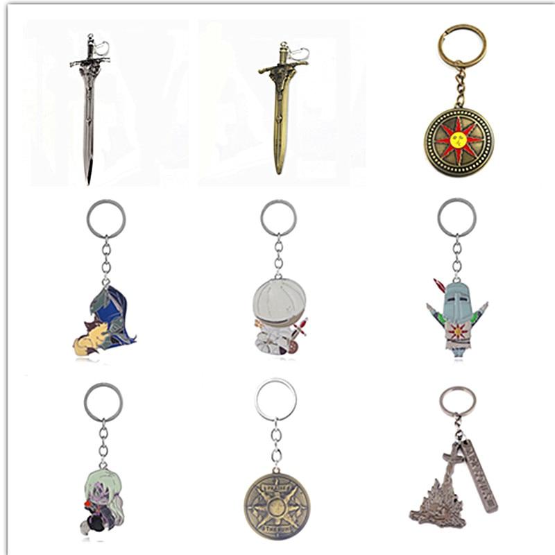 Rongji Jewelry Game Dark Souls 3 Keychain Knights Sword Solaire Of Astora Keyring Pendant Men Badge Jewelry