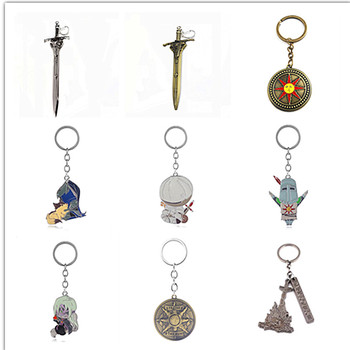 rongji jewelry Game Dark Souls Keychain Knights Sword Solaire Of Astora keyring Pendant men badge Jewelry image