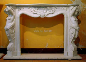Marble Fireplace Furniture Mantel Belle-Sculpture with Carved-Stone American-Style Luxurious