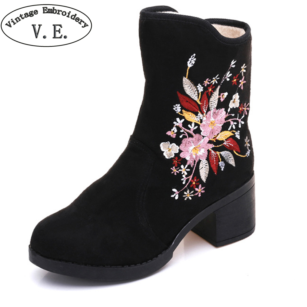 Vintage Winter Women Boots Floral Embroidered Ladies Short Ankle Boots Zipper Warm Black Booties Botas Mujer Plus Size 41 ladies embroidered boots womens ankle boots for women winter boots black boot botas mujer bottine botte femme laarzen botines