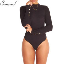Hot sale bandage fitness bodysuit women turtleneck autumn winter bodysuits female body with long sleeves button bodycon jumpsuit