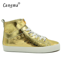 CANGMA Vintage Deluxe Brand Sneakers Men Casual Shoes Mans Boots Gold Shoes Patent Genuine Leather Footwear