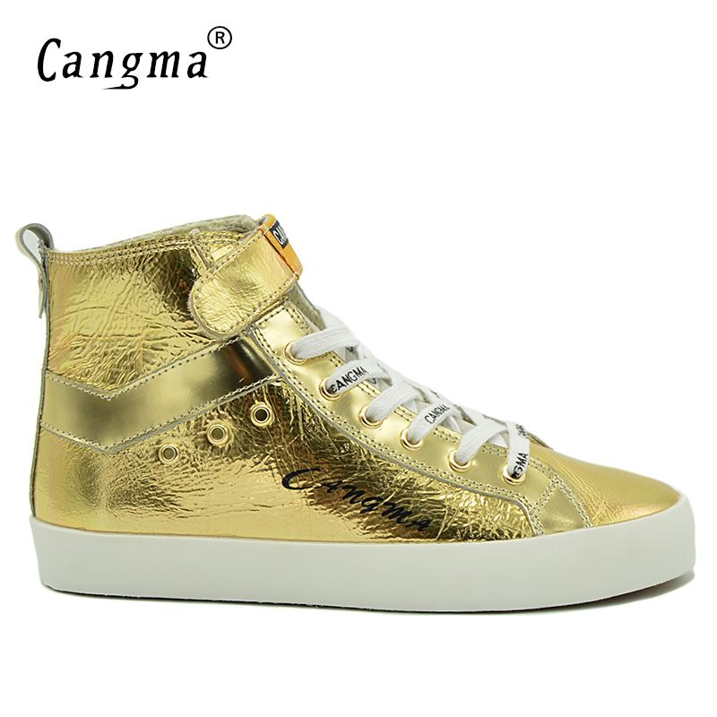 CANGMA Vintage Deluxe Brand Sneakers Men Casual Shoes Mans Boots Gold Shoes Patent Genuine Leather Footwear Ankle Boots Male cangma original luxury man s boots casual shoes ankle boots brand sneakers men lace up patent genuine leather male silver shoes