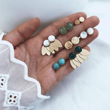 7 Pairs/set Vintage Round leaves Geometric Colorful Crystal Gold Stud Earrings For Women Girls Trendy Jewelry Set