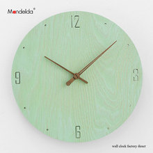 Wholesale Home Watch Decorative 12 inch Wooden Silent Waterproof Retro Rustic Luxury Art Handmade Wall Clock in Living Room