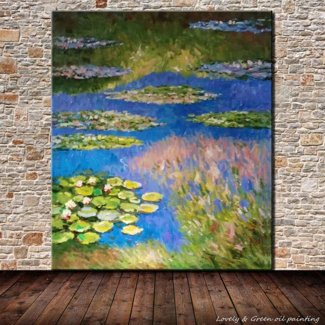 Frameless Picture Hand Painted Oil Painting On Canvas Hand Painted Lotus Flower Famous Oil Paintings Home Decor For Living Room