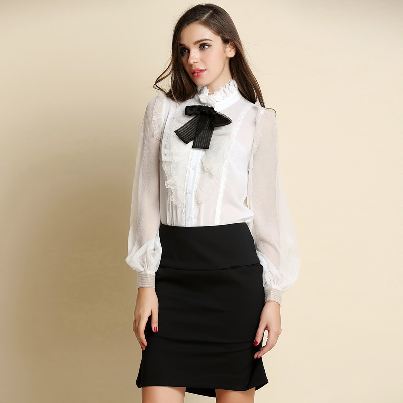 womens white shirt with bow artee shirt