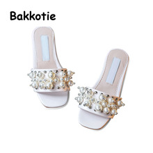 Bakkotie 2017 Summer Children Rhinestone Kid Fashion Black Mules Pink Baby Girl Beach Pearls Slipper Toddler White Slides Beige
