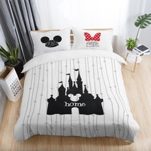 Белый черный красный Микки и Минни Маус 3D печатных комплекты постельного белья для взрослых Твин Полный queen King Размеры спальня украшения набор пододеяльников для пуховых одеял