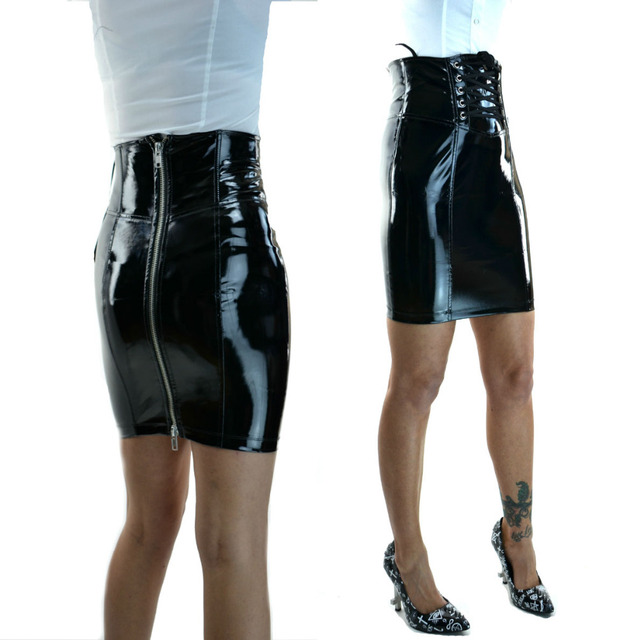 e709b50f5 PU Leather Skirt Plus Size Sexy Women Slim High Waist Straight Black PVC  Skirt Vinyl Latex Skirts Bondage Clubwear Clothes
