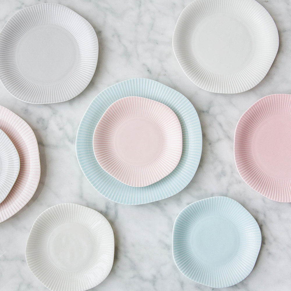 Creative Irregular Striped Ceramic Tableware 4 Colors