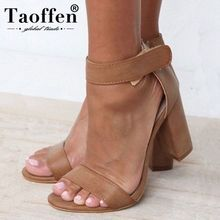 TAOFFEN New 2019 Spring Women Simple Sexy Sandals High Heels Wedding Dating Party Shoes Club Western Stylish Size 34-44