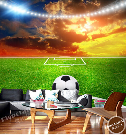 Custom photo wallpaper, football on the lawn for the living room bedroom TV background wall waterproof wallpaper custom baby wallpaper snow white and the seven dwarfs bedroom for the children s room mural backdrop stereoscopic 3d