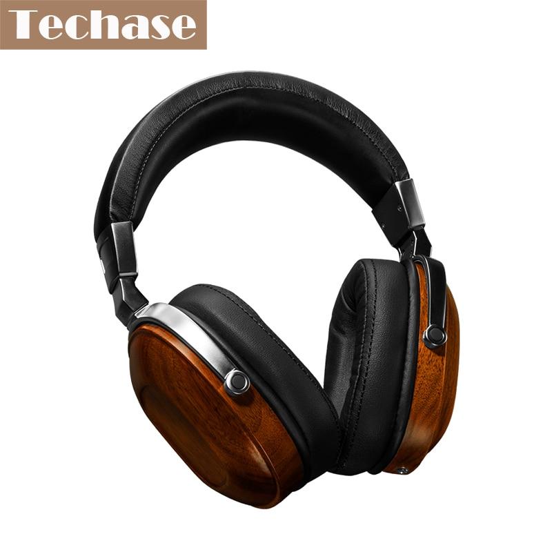 Techase original de madera oordopjes 3.5mm aux auriculares auriculares de alta f