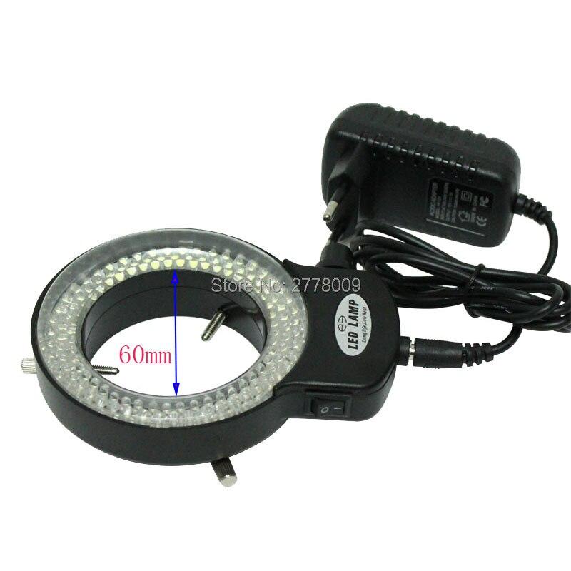 Adjustable 6500K 144 LED Ring Light illuminator Lamp For Industry Stereo Microscope Lens Camera Magnifier 110V-240V Adapter 48 led stereo microscope light source adjustable ring lamp light ccd illuminator w diffusion plate for industrial camera