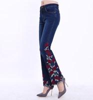 Women Stretch High Waist Flowers Embroidery Jeans Woman Floral Denim Trousers Pants Women Jeans Flared Pants Pantalon