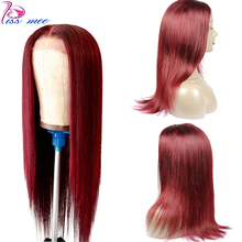 Kiss mee 99J Burgundy Lace Front Wig Human Hair Wine red Straight Wig Pre Pluck Hairline Brazilian Remy Lace Wig For Black Women