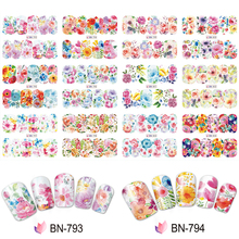12 pcs/lot Mixed Designs Full Wraps Sticker Nail Art Water Decals 3D Cherry Blossom Flower DIY Decor Manicure Tips ##BN793-804 12 designs nail art sticker decals water transfer cartoon unicorn designs colorful diy nail wraps tips manicure sabn637 648