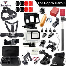 SnowHu for Gopro 5 accessories set For Gopro hero 5 protective case chest Monopod for gopro hero 5 tripod for go pro HERO 5 GS49