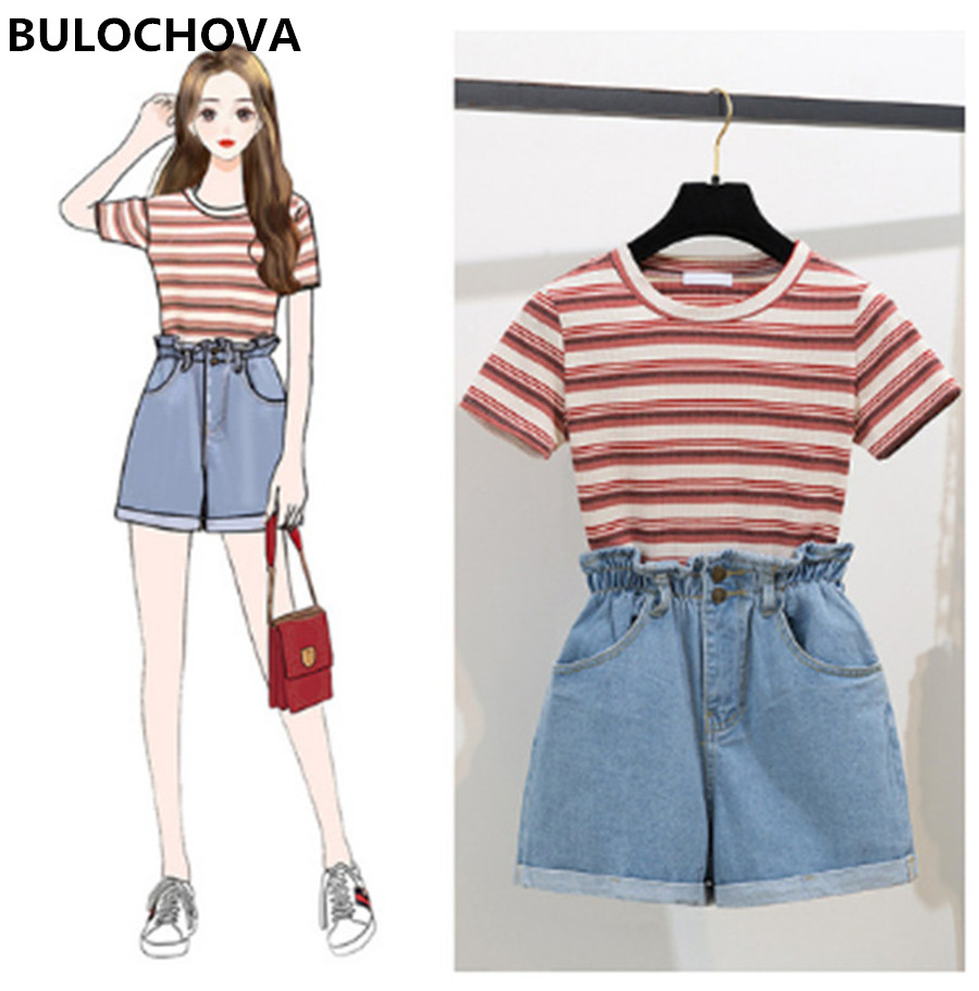Womans Fashion Striped Short Sleeve T-Shirt Tops + Short Pants 2 Pieces Sets 2019 Summer Design Women's Wide Leg Hot Pants Suit