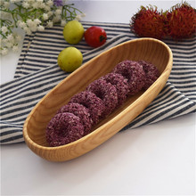 1pcs Japanese Wood Oval Boat Shape Pastry Dish Snacks Fruit Bowl Dinnerware Home Kitchen Tableware