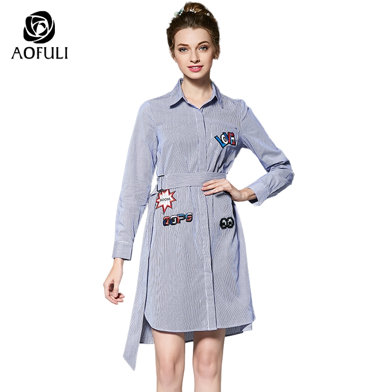 L 4xl 5xl Preppy Embroidered Stripe Print High Low Shirt Dress Women Fall Turn Down Collar