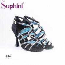 Free Shipping 2018 Suphini Latin Rhinestone Bling bling Salsa Shoes Woman Stone Dance Shoe