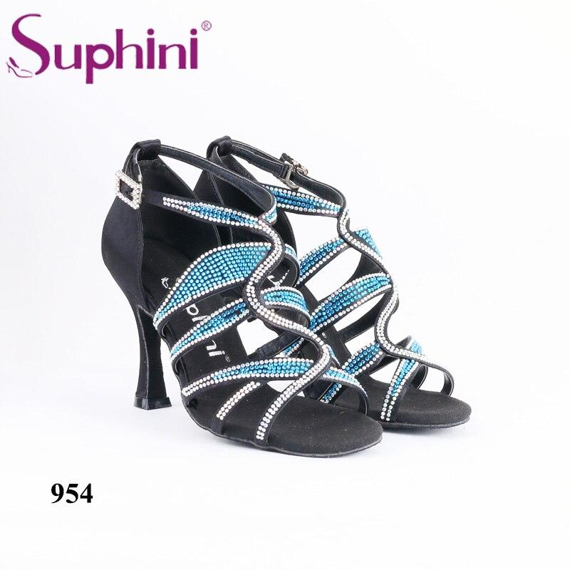 Livraison gratuite 2019 Suphini Latin strass étincelle strass chaussures Salsa femme noir Satin chaussure à talons hauts