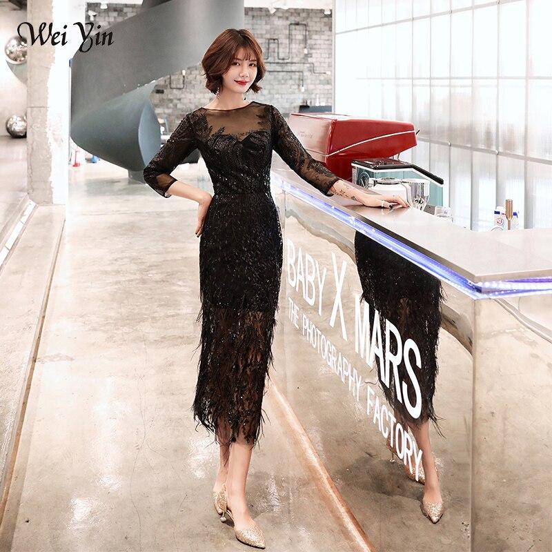 Wei yin nouveau Style thé-longueur noir gris robes de soirée 2019 plumes formelle robes de bal a-ligne de mode noir robe de soirée WY1676