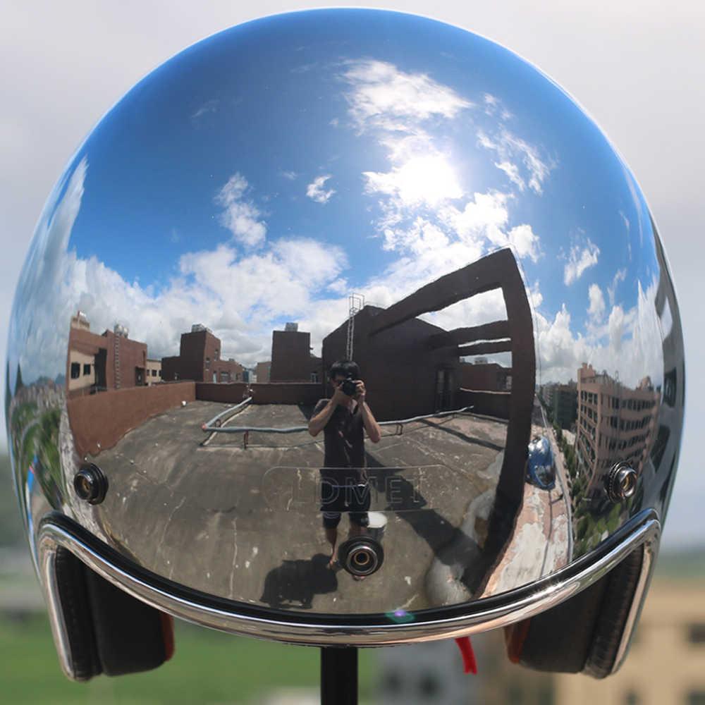 LDMET винтажный мото rcycle шлем capacetes de moto ciclista серебристая, хромированная vespa cascos para moto кафе зеркало для гонщиков