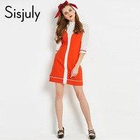 Sisjuly 60s Dresses Vintage Autumn Turtneck Color Block A Line Designer Dress Elegant Spring Female Winter