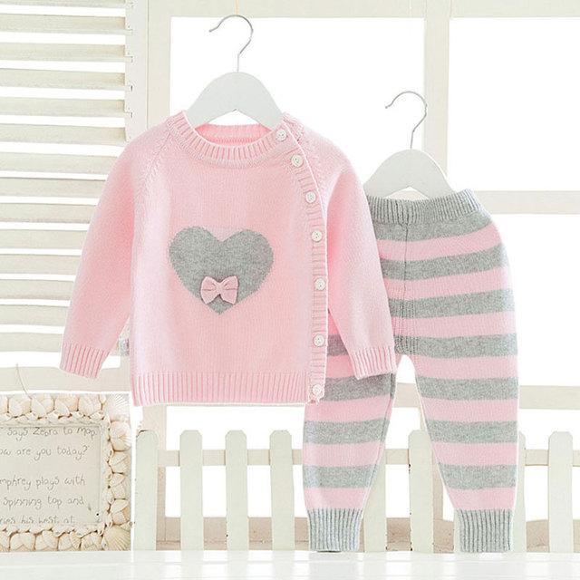 Conjuntos de ropa de manga larga para recién nacidos bebé niña moda invierno ropa de abrigo traje de lana de dibujos animados tejido de tela Infantil Niño niños