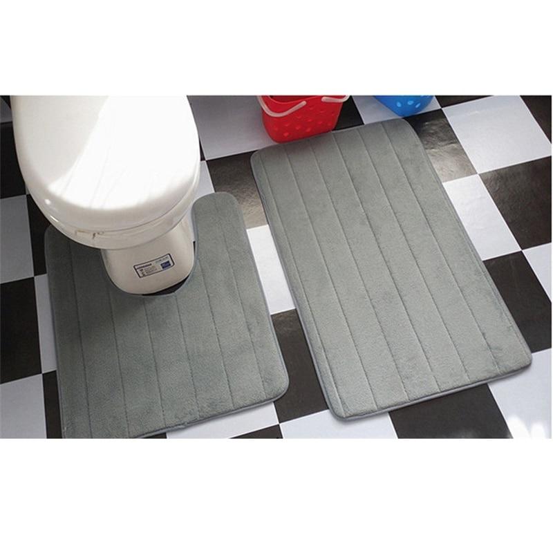 2 pçs/set Simples Tapete Para Banheiro Tapete Higiênico U Forma Footmat WC Closestool Banheiro Tapete de Banho Tapete Macio tapete banheiro