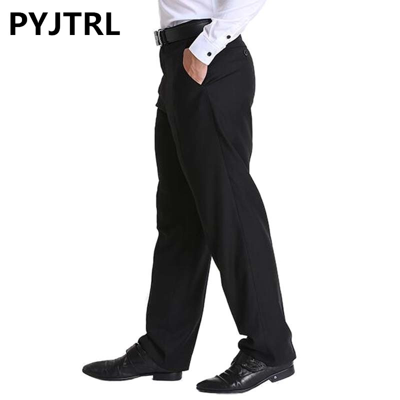 Classic Black Men's Business Suit Mens Loose Pants Middle Age Occupation Formal Trousers