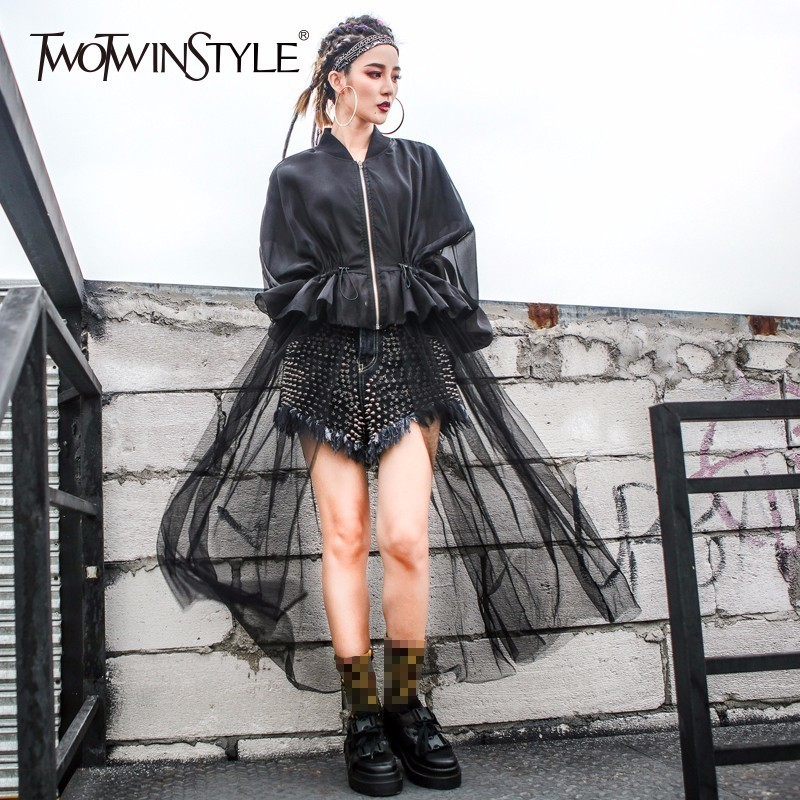 TWOTWINSTYLE Mesh Windbreaker Female Ruffles Patchwork Tunic High Waist Zipper X Long Thin Trench Coat Spring Fashion Clothing