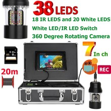 PDDHKK 7 дюймов рыболокатор DVR рекордер подводная рыболовная видеокамера IP68 Водонепроницаемая 38 светодиодов 360 градусов вращающаяся камера