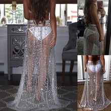 2019 Summer Beachwear Women Boho Long Transparent Skirt Silver Sequin polka dot Loose Sexy Party see through Mesh Skirts