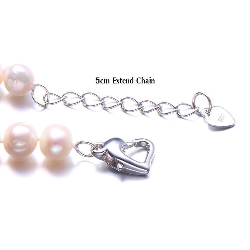 HENGSHENG Real Natuurlijke Buurt Ronde Parel Sieraden Armband, 925 Sterling Zilveren Liefde Gesp, 7-8mm Kralen sieraden, Fijne Vrouwen Sieraden