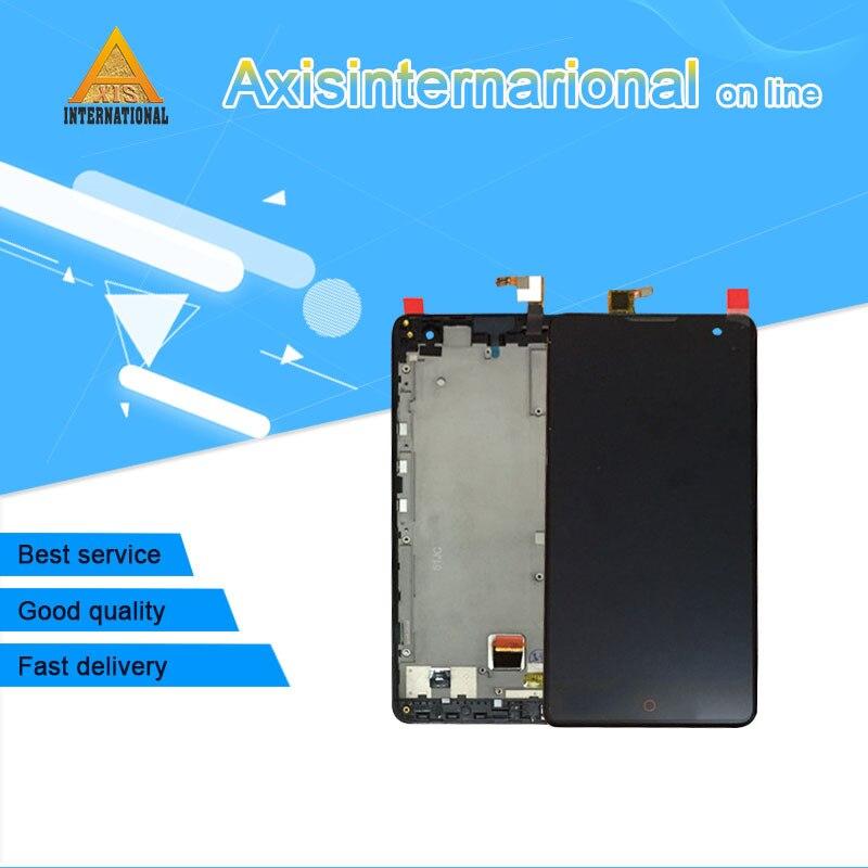 Para ZTE Nubia Z7 Max NX505J Axisinternational LCD screen display + touch panel digitador com moldura preta frete grátis