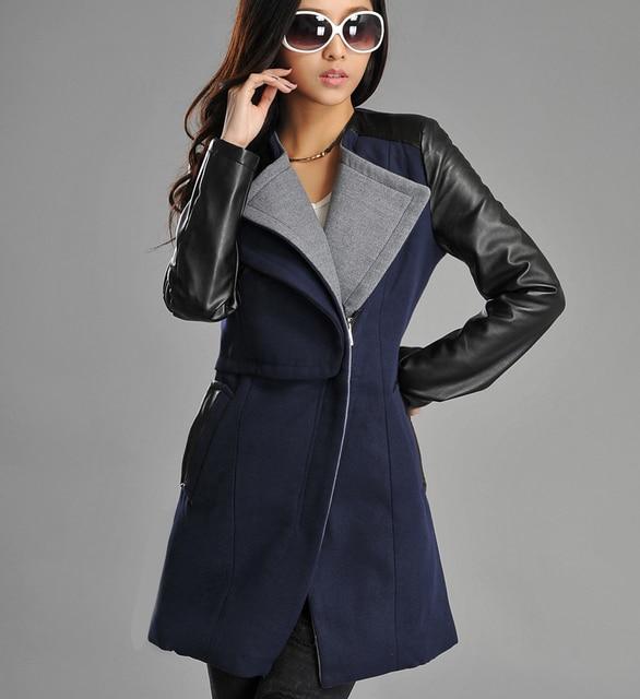 47658f872bf Plus Size Wholesale New 2017 Fashion Patchwork Womens Long Warm Wool PU  Leather Sleeve Jacket Coat Windbreaker Free Shipping